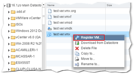 Using the VMX file to register a VM